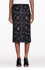 BURBERRY PRORSUM Black Sequined Lace Pencil Skirt for women