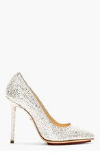 CHARLOTTE OLYMPIA Silver Glitter Pointed Monroe Pumps for women
