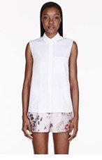 STELLA MCCARTNEY White Sleeveless Pocket Trim Blouse for women