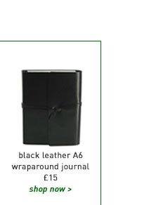 black leather a6 wraparound journal