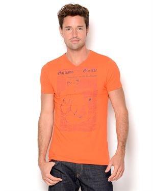 John Galliano Graphic Print V-Neck T-Shirt