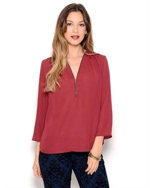Renee C. 3/4 Sleeve Zip Blouse