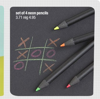 set of 4 neon pencils 3.71 reg 4.95