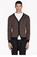 CARVEN Green & coral embroidered DOT CARDIGAN for men