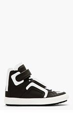 PIERRE HARDY Black leather white flag high-top sneakers for men