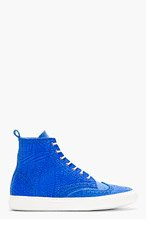 PIERRE HARDY Blue Textured Leather Brogued High-Top Seakers for men