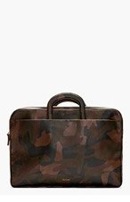 PAUL SMITH Black & Brown Leather Camo Print Briefcase for men