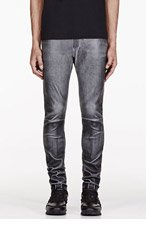NEIL BARRETT Grey Washed Leather Trousers for men