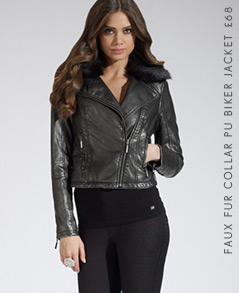 Faux Fur Collar Pu Biker Jacket