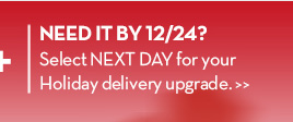 NEED IT BY 12/24? Select NEXT DAY for your Holiday delivery upgrade.