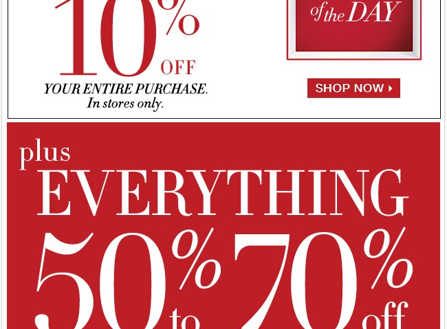 Everything 50% to 70% Off!