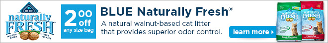 BLUE Naturally Fresh - $2 off any size bag - Learn More