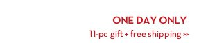 ONE DAY ONLY. 11-pc gift + free shipping.