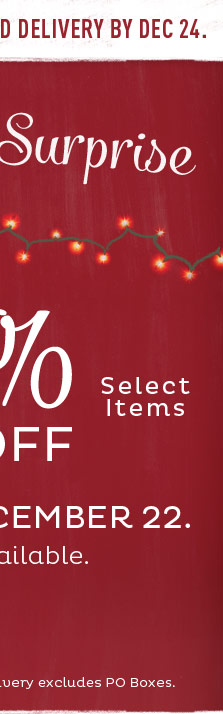 Take up to 50% off Select Items. Through 12pm EST 12/22/2013