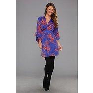Tbags Los Angeles Deep V-Neck Kimono Sleeve Mini Dress w/ Tie Waist