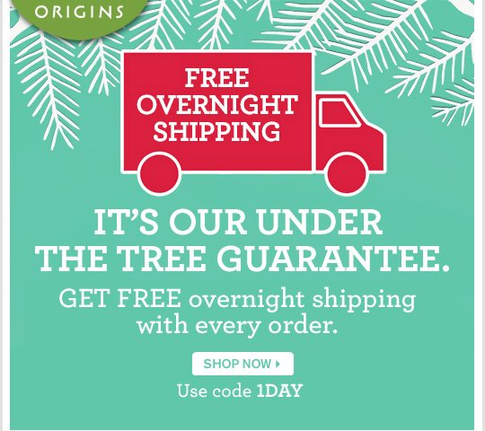 FREE OVERNIGHT SHIPPING IT S OUR UNDER THE TREE GUARANTEE GET FREE overnight shipping with every order SHOP NOW Use code 1DAY