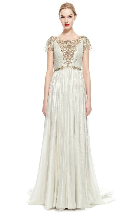 Hand-Pleated Silver Foil Embroidered Chiffon Gown