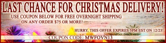 Last Chance for Guaranteed Christmas Delivery | Free Overnight Shipping!