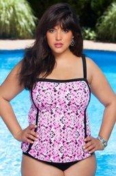 Women's Plus Size Swimwear - Always For Me In Control - 2 Piece Scroll Tankini w/ Brief