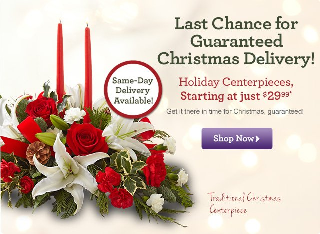 Last Chance for Guaranteed Christmas Delivery!  Holiday Centerpieces, Starting at just $29.99* Shop Now