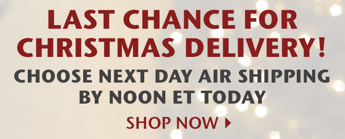 Last Chance for Christmas Delivery! Choose Next Day Air Shipping by Noon ET Today - Shop Now