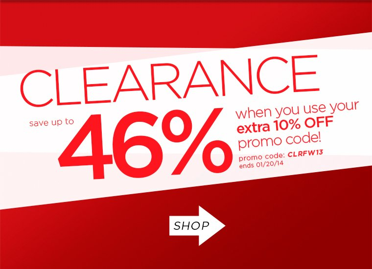Save up to 46% on Clearance when you use your extra 10% promo code! Display images to learn more.