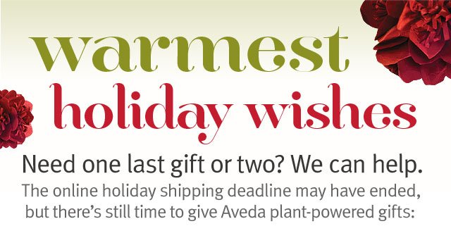warmest holiday wishes. need one last gift or two? we can help.