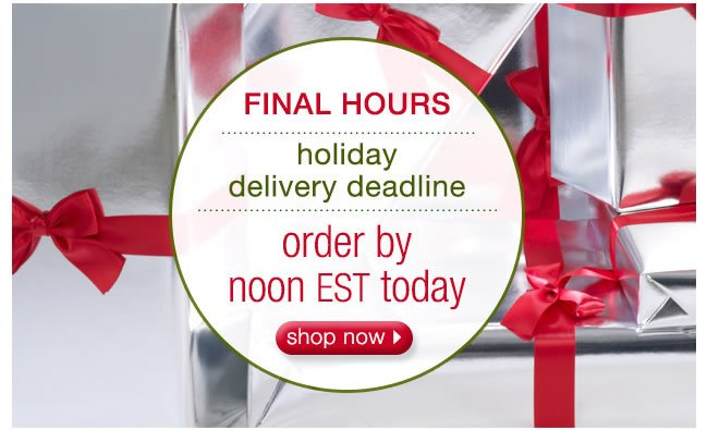 FINAL HOURS: Holiday Delivery Deadline. Order By Noon EST Today