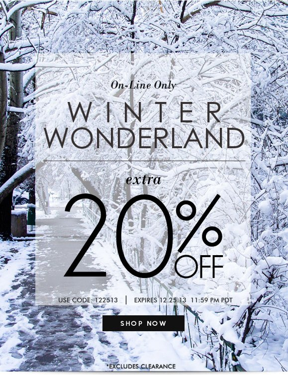 ON-LINE ONLY! WINTER SALE: Use Code 122513 and Enjoy Additional 20% OFF! Hurry, Shop Now and SAVE!