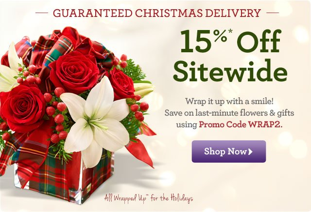 Guaranteed Christmas Delivery! 15%* Off Sitewide  Wrap it up with a smile! Save on last-minute flowers and gifts using Promo Code WRAP2.  Shop Now