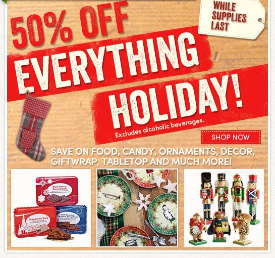 Save 50% on Everything Holiday!*