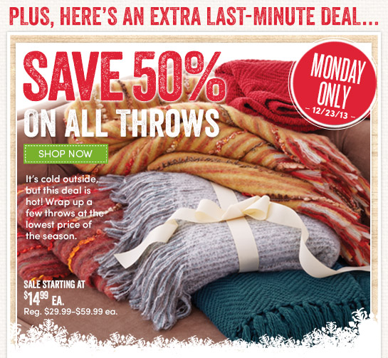 Today Only! Save 50% on All Throws