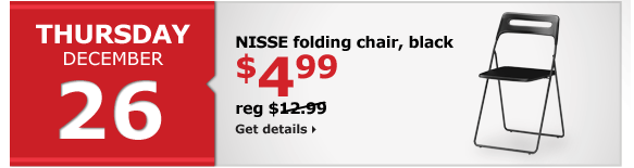 NISSE folding chair, black | $4.99