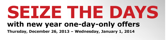 SEIZE THE DAYS with new year one-day-only offers
