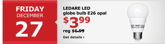 LEDARE LED globe bulb E26 opal | $3.99