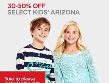 30-50% OFF SELECT KIDS' ARIZONA