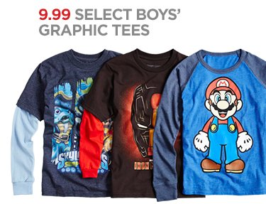 9.99 SELECT BOYS' GRAPHIC TEES