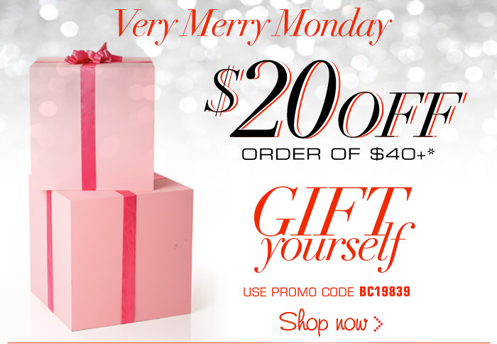 Very Merry Monday 20 off order of 40 or more!