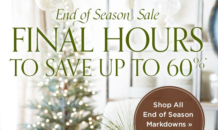 Save up to 60% at the End of Season Sale.