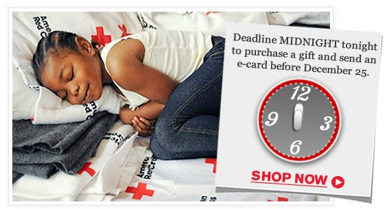 Deadline midnight tonight to purchase a gift and send an e-card before December 25. Shop Now.