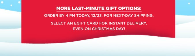 MORE LAST-MINUTE GIFT OPTIONS: ORDER BY 4 PM TODAY, 12/23, FOR NEXT-DAY SHIPPING. SELECT AN EGIFT CARD FOR INSTANT DELIVERY, EVEN ON CHRISTMAS DAY!