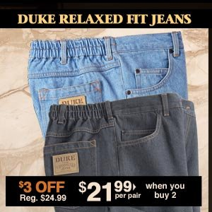Duke Relaxed Fit Jeans $21.99 per pair when you buy 2