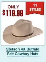 Stetson 4X Buffalo Felt Cowboy Hats