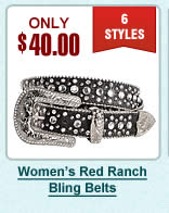Womens Red Ranch Belts