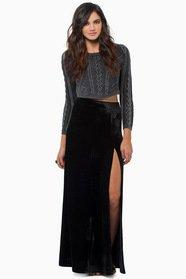 High Hopes Side Slit Velour Skirt