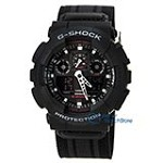 Casio GA100MC-1A Men's G-Shock Black Ana-Digi Dial Military Black Nylon Strap Alarm Dive Watch