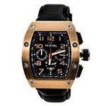 TW Steel CE2004 Men's CEO Tonneau Black Dial Black Leather Chronograph Watch