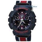 Casio GA100MC-2A Men's G-Shock Blue & Black Ana-Digi Dial Military Nylon Strap Alarm Dive Watch