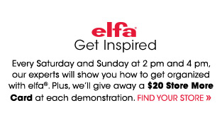 Get Inspired. We'll give away a $20 Store More Card at each demonstration.
