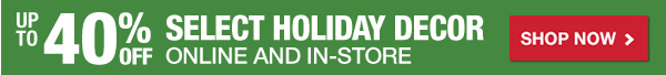 Up to 40% OFF Select Holiday Decor